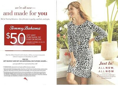 TOMMY BAHAMA GIFT CARD $50 OFF $100 EXPIRES 12/31/19. Stores, online, restaurant