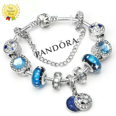 Authentic Pandora Charm Bracelet Silver Blue LOVE STAR with European Charms