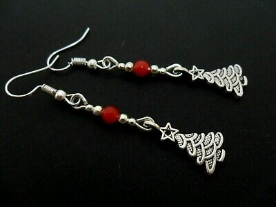 A Pair Of Tibetan Silver Red Jade Bead Dangly Christmas Tree  Earrings.