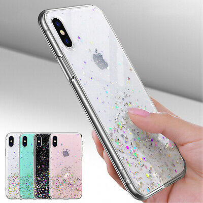 For iPhone XR Case 8 Plus 7 6S XS Max Clear Bling Silicone Rubber TPU Soft Cover