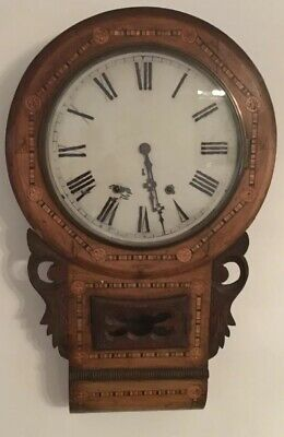 Antique Inlaid Anglo American Wooden  Wall Clock - Spares/ Repairs