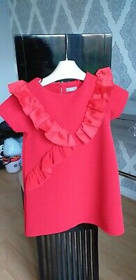 Girls NEXT red Dress With Ruffles. Age 4 Years.