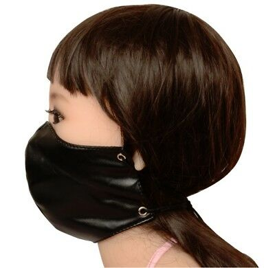 PVC Leather Wet Look Dungeon Restraint Mask Mouth Nose Yoke Head Hood Ball Gag