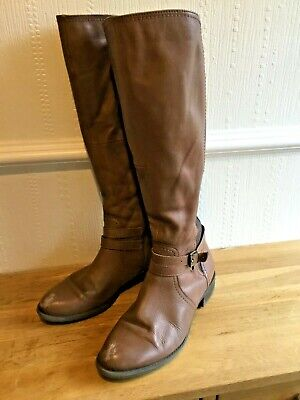 Ladies George Love Leather Tan Boots With Elasticated Panels Size 6