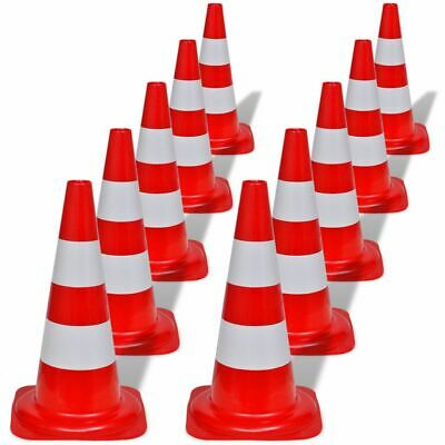 vidaXL 10x Reflective Traffic Cones Red and White 50cm Parking Safety Road#