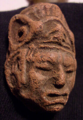 Precolumbian Pottery Head Bead Or Pendant (1-5/8 x 1-1/16 inches)