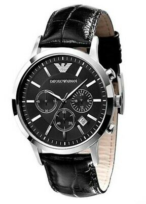 New Genuine Emporio Armani Mens Ar2447 Watch Black Dial Stainless Steel £259 Rrp