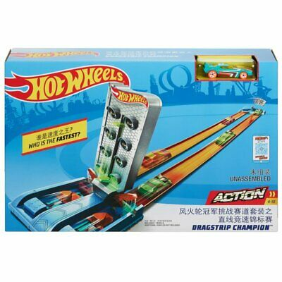 Hot Wheels Dragstrip Champion Playset Toy Car Drag Race Strip Racer Speed Launch