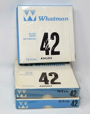 WHATMAN 1442-125 Grade 42 ASHLESS Filter Papers 125mm 12.5cm x100 Circles