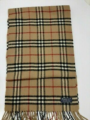 Genuine Burberrys Vintage Classic Nova Check Camel / Beige Lambswool Scarf