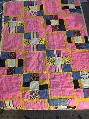Girls quilt handmade Pink, Yellow, Blue - Infant Baby Blanket Girls