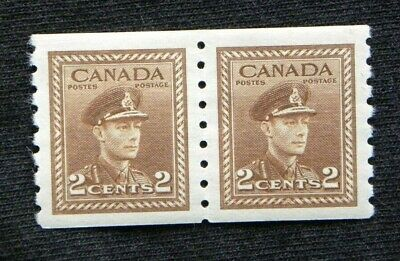 Canada Stamps 279 KGVI War Issue Coil Pair 2c Brown  Lt Stamp MNH Rgt MLH