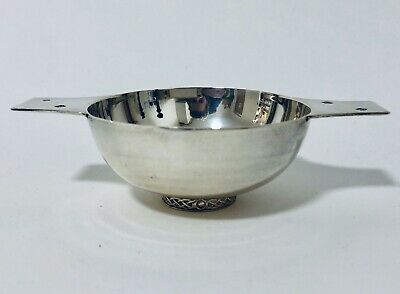 Rare Scottish Isle Of Mull Solid Sterling Silver Quaich Drinking Cup Dish Bowl