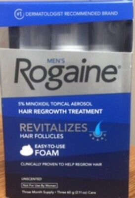 ROGAINE MEN'S 5% Minoxidil Topical Aerosol Foam Hair Regrowth 3 Month Supply