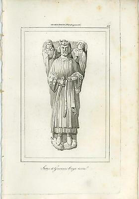 Antique Statue Of John Lackland King Of England Copper Plate Engraving Old Print