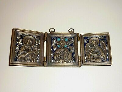 RUSSIAN BRONZE TRIPTYCH ANTIQUE ORTHODOX Folding Icon with enamel nice !!