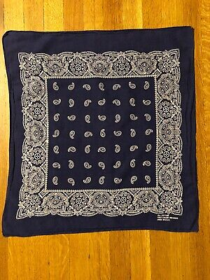 Vintage Bandana Handkerchief All Cotton Fast Color Made in USA Navy Blue Paisley