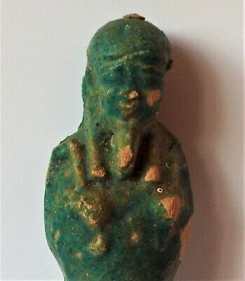 A Rare Ancient Egyptian,Turquoise Glazed,Pharaoh Shabti, Tomb Fiigure, Amulet.