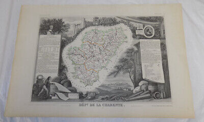 1856 Map/FRANCE, DEPT. DE LA CHARENTE /Political Division/Outstanding Graphics