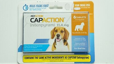 PetAction CapAction For Dogs 2-25 lbs Flea Treatment 6 Tablets EXP 2021 NEW