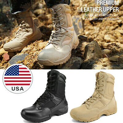 US Mens Waterproof Zip Army Combat Desert Military Tactical Outdoor Hiking Boots