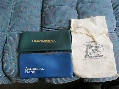 3   Old  Bank  Bags  -  Union,  American,  1St   National   Allentown,   Pa