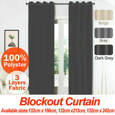 2X Blockout Curtains Thermal Pair Eyelet Blackout Curtains Fabric for any room