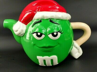M&M Collectible Miss Green Ceramic Teapot Christmas Santa Hat Candy Jar Kitchen
