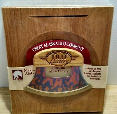 Great Alaska Ulu CO Knife Chopping Bowl Set Stand Sealed  Birch Wood Handle
