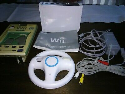 Nintendo Wii White Console TESTED w/power cords, wheel, RGB cable, & manual!