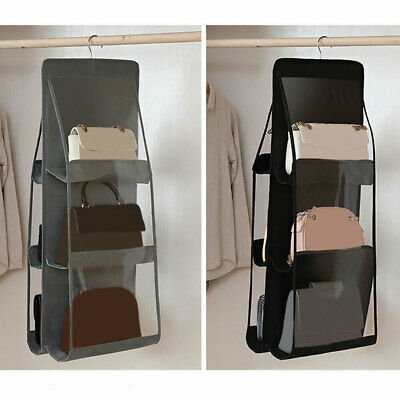 6 Pocket Bag Handbag Storage Holder Organizer Wardrobe Rack Hook Bag Hanging