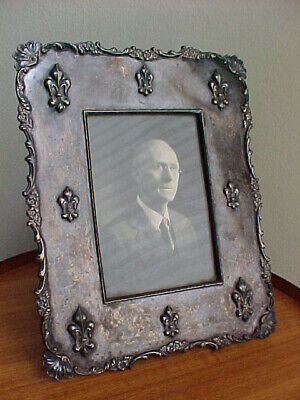 Heavily Embossed Photo Frame, Meriden Silver-Plate, Antique, Very Detailed (#1)