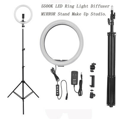 "14"" 5500K Dimmable Diva LED Ring Light Diffuser MIRROR Stand Make Up Studio"