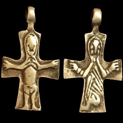 Very Rare Ancient Roman Silver Double Sided Cross With Figures 200-400 Ad