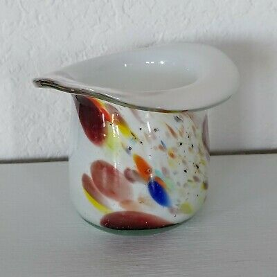 Vintage 50's Hand Blown Glass Top Hat End Of Day Pontail Mark Art Glass White