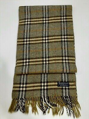 Genuine Burberrys Vintage Classic Nova Check Light Green Lambswool Scarf