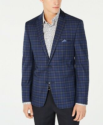 $530 Bar III Men's 36R Blue Slim Fit Plaid Suit Jacket Solid Sport Coat Blazer