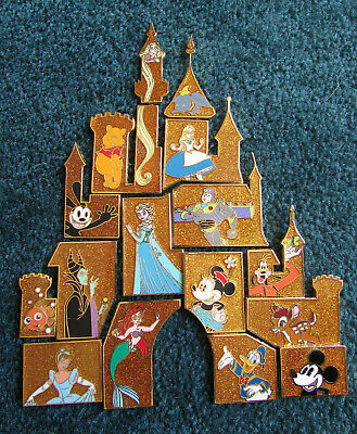 Disney trading pin set lot castle mystery puzzle gold sparkle 2015
