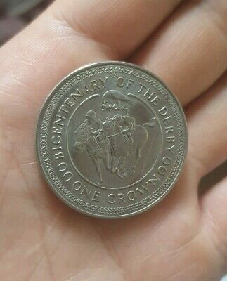ISLE OF MAN 1980 bicentenary of the derby one CROWN rare coin