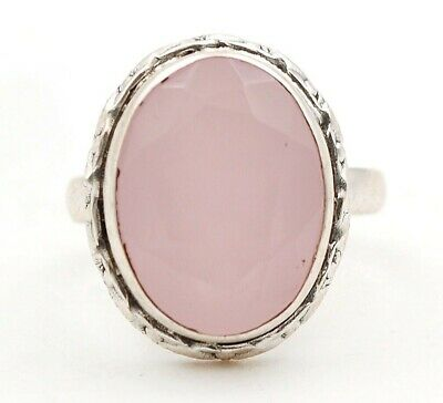 Faceted Rose Quartz 925 Solid Sterling Silver Ring Jewelry Sz 6.5, D26-1