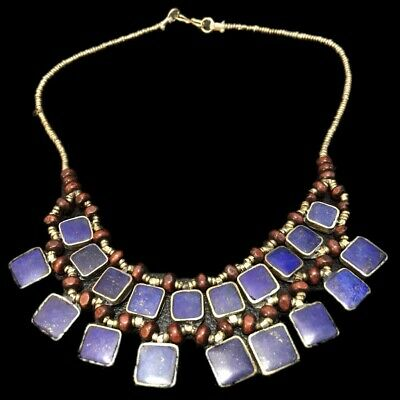 Ancient Silver Decorative Gandhara Pendant Necklace With Lapis Stones 300 B.C.