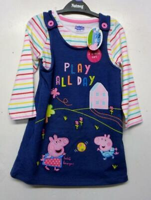 Peppa Pig George Denim Pinafore Dress Long Sleeve Top Set Girls Baby Toddler