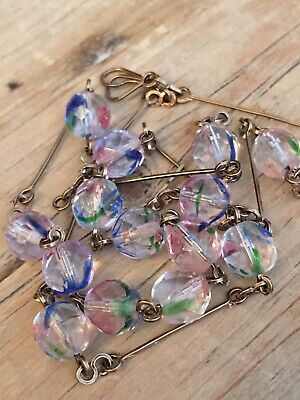 art deco Vintage Style Iris Rainbow Faceted Glass Crystal bead Paste necklace