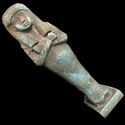 Very Rare Large Ancient Egyptian Hieroglyphic Shabti, Late Period