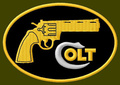 """COLT EMBROIDERED PATCH ~3-1//2/"""" x 2-3//8/"""" PISTOLS ARMS RIFLES HAND GUNS WEAPONS"""