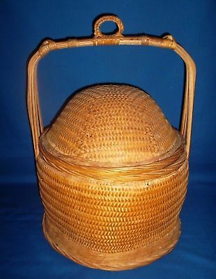 Lucky Wedding  Dome Lid Basket, Authentic Chinese Antique Wicker /Bamboo