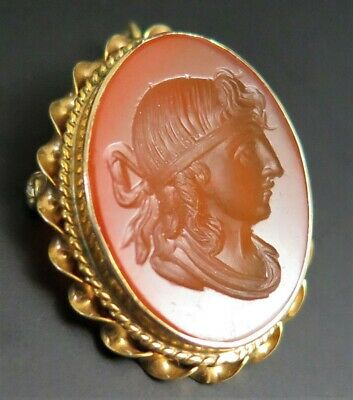 ANTIQUE VICTORIAN 14K YELLOW GOLD CARNELIAN INTAGLIO PENDANT BROOCH PIN 4.3 Gr