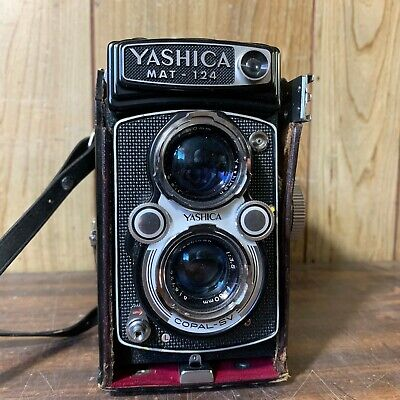 Vintage Yashica MAT-124 Reflex TLR Camera Original Leather Case - VERY CLEAN