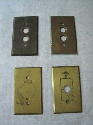 Old Reclaimed Brass Plate Switch Covers One Patented 1899 Restoration Victorian