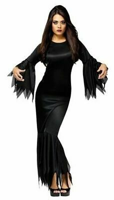 Morticia Addams The Adams Gothic Family Black Witch Dress Adult Womens Costume